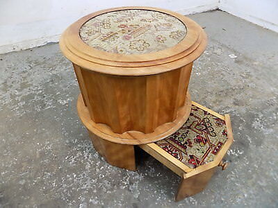 antique,edwardian,walnut,round,stool,seat,library,steps,embroided fabric,kitchen