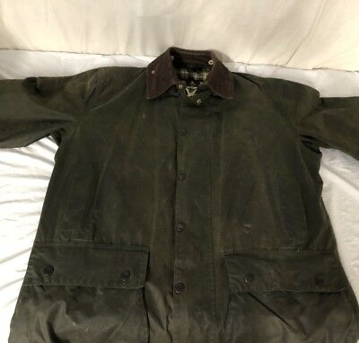Barbour Border Vintage Hooded Waxed Coat Jacket C42/107CM Fishing Hunting