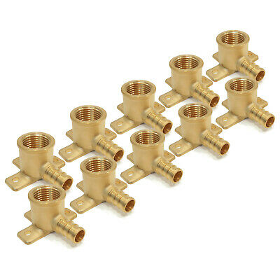 """(10) 1/2"""" x 1/2"""" PEX BRASS DROP EAR ELBOWS Barbed Fitting Connector LEAD FREE"""