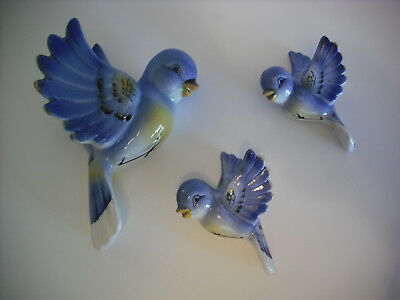 Vintage Lefton Blue Bird And Babies Wall Hangers