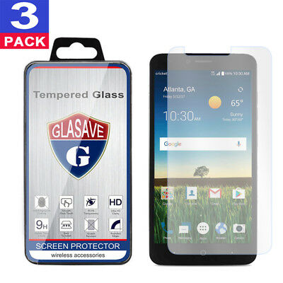 (3 Pack) GLASAVE Tempered Glass Screen Protector Film For ZTE Z983 Blade X Max
