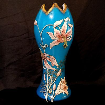 Antique French Glass-Porcelain Vase Large Hand Painted Enamel Orchids, Very Rare