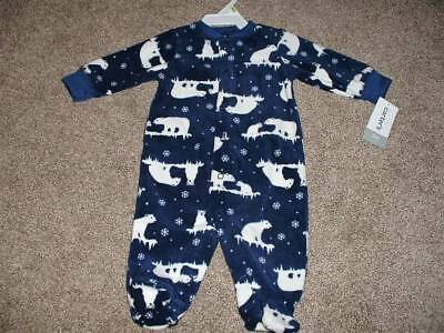 6784e6e3a215 CARTERS BABY BOY Fleece Polar Bear Pajamas Sleeper Size Newborn 3 ...