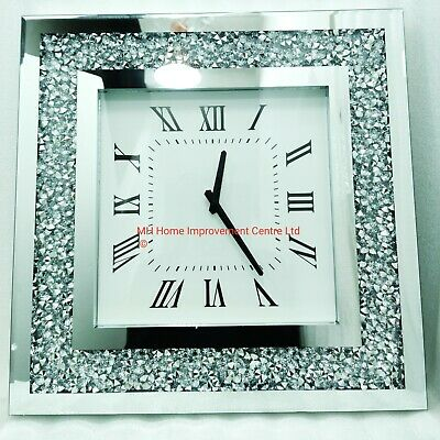 Square Mirrored Sparkly Diamond Crush Crystal Large Silver Wall Clock Bevelled