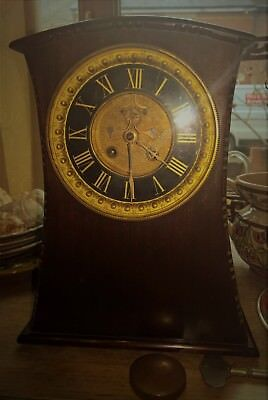Unusual Dark Wood Pos Mahogany Art Deco Clock - Ornate Moving Face Working & Key