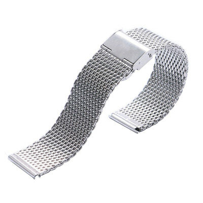 Silver High Quality Stainless Steel Mens Watch Band Web Mesh Watch Strap For Men
