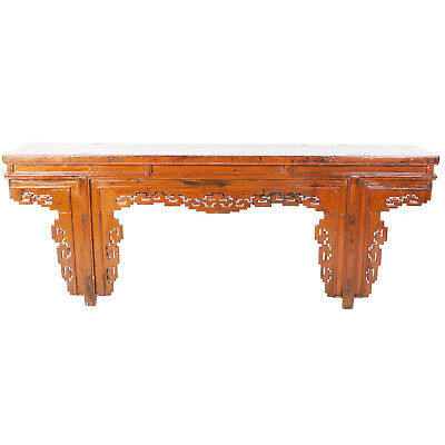 "Antique Chinese 91"" long Burnt Orange Color Lacquer Altar Console Table"