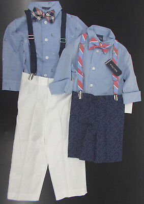 Infant/Toddler/Boys Nautica $50-$59.5 4pc Blue/Navy w/ Suspenders Suits Sz 12m-7
