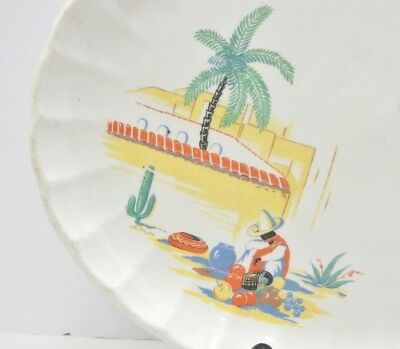 Vintage W.S. George Bolero small platter ruffle edges Mexican theme