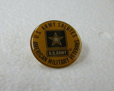 Vintage US Army Salutes American Military Veterans PIN Lapel New