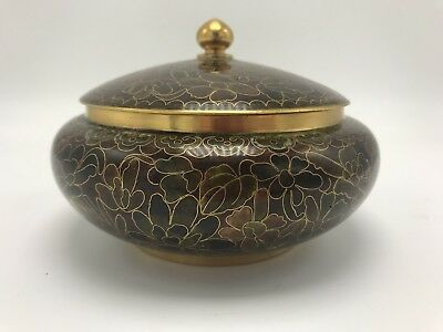 Chinese Vintage Brown Lidded Jar Pot Bowl/Box Flowers Pattern
