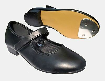 Black Velcro Fastening Tap Dance Shoes. Child Size 6 up to 2