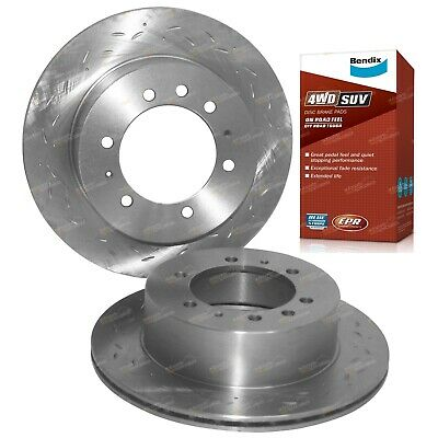 2 Rear Slotted+Drilled Disc Rotors + Bendix 4x4 Brake Pads fits Patrol GU Y61