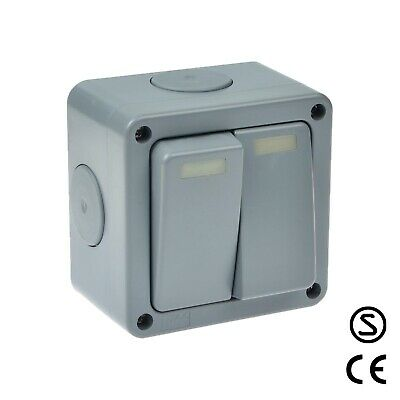 Outside Light Switch 2 Gang 2 Way Outdoor Weatherproof Waterproof Switch IP66