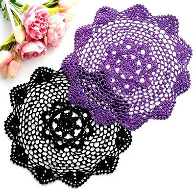 Crochet doilies in black and dark purple 28 -30 cm millinery and crafts