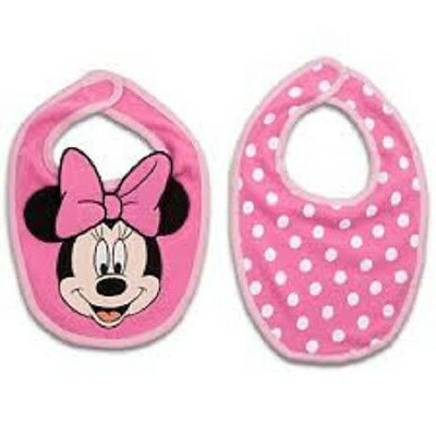 Disney Store Baby Minnie Mouse 2 Pack Bibs - Organic Cotton - New