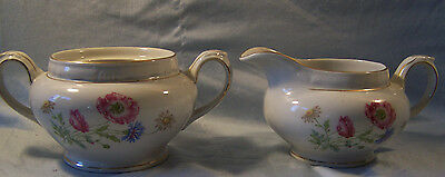Bareuther Floral Creamer and Sugar Bowl Bavaria Germany US Zone