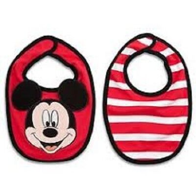 Disney Store Baby Mickey Mouse 2 Pack Bibs - Organic Cotton - New