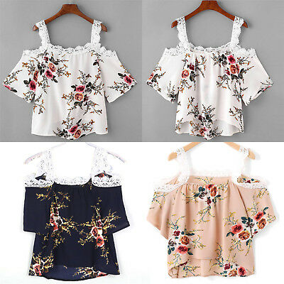 Womens Short Sleeve Tank Tops Ladies Lace Floral Off Shoulder Loose Blouse Newly
