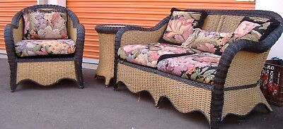 Vintage Wicker Settee, Chair, Tble, Natural With Blk, Use Any Room. All Styles