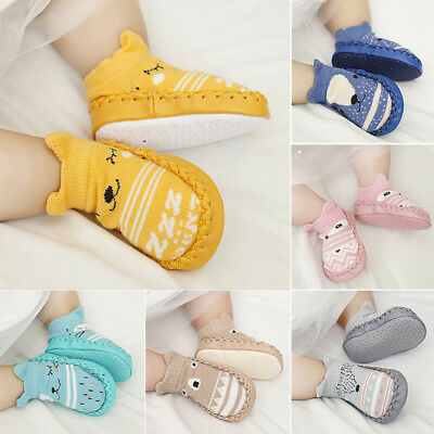 ES_ Toddler Non-Slip Boot Socks Kids Baby Cartoon Warm Shoes Anti-slip Slipper E
