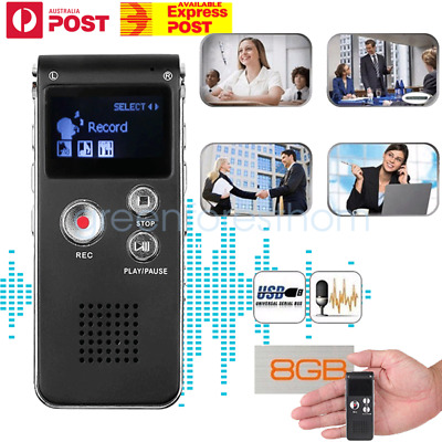 8/16GB Rechargeable USB Digital Voice Recorder MP3 Player Telephone Dictaphone