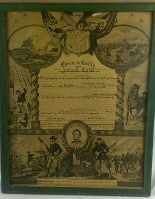 Rare Collectible Framed CIVIL WAR Discharge Paper New York 1865 Man Cave