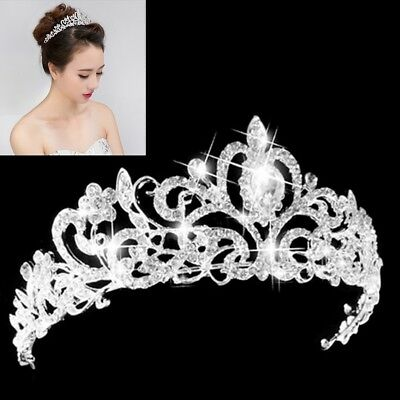 Wedding Bridal Princess Austrian Crystal Prom Hair Tiara Crown Veil Headband Sil