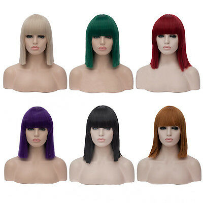 Green Blue Purple White 40cm Short Bob Synthetic Hair With bangs Cosplay Wig