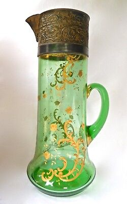 c1900 Victorian Art Glass Lemonade Pitcher w/ Silver Mount, Intricately Gilded