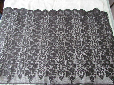 Antique silk Black Lace Floral Fabric Craft Scarf Mourning veil Church Mantilla