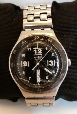 Vintage SWATCH IRONY SWISS MADE V8 Day/Date Vertical Black