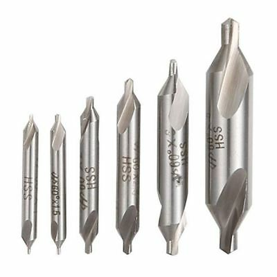 6 PCS HSS Combined Center Drills Bit Set 60 Degree Angle 5/3/2.5/2/1.5/1 mm N4O5