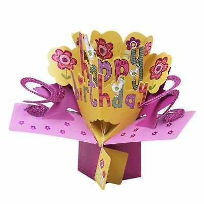 3D Happy Birthday with Flowers Pop Greeting Card for Birthday Blessing Card O8A7