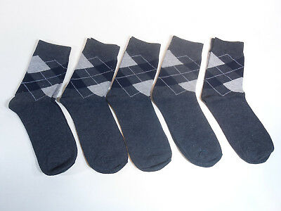 9d42e347a5159 5 Pairs Mens Argyle Dark Gray Fashion Crew Dress Socks Shoe Size 6-11  Diamond
