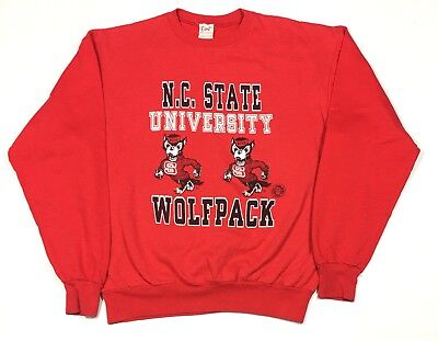 Vintage 80's NC State University Wolfpack Red Sweatshirt USA Men's XL College