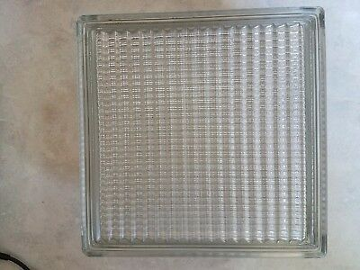 "Vintage Reclaimed Architectural Glass Building Block 7 3/4"" x 7 3/4"" x 3 7/8"""