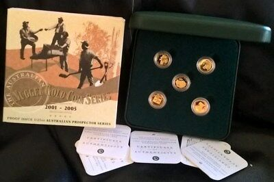 2001 To 2005 Four Dollar Gold  Proof Coins *prospector Series* 1/25 Ounce Gold