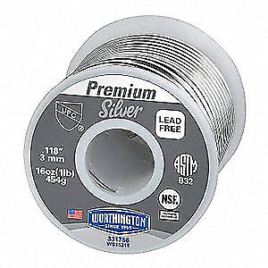 WORTHINGTON Plumbing Solder,Dia 0.118 In,1lb, 331756