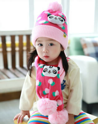 New Winter Cute Panda Women's Hats Acrylic Scarves Cartoon Design Beanie Cap