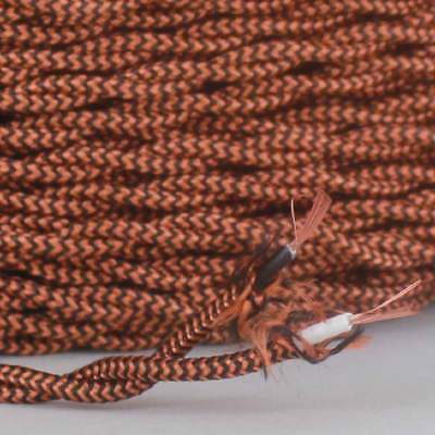 BURNT COPPER ~ Antique Look TWISTED Cloth Covered Fabric Lamp Wire ~ Per Foot