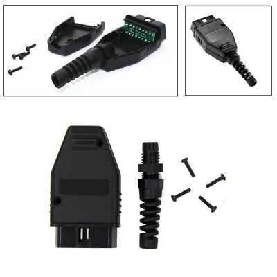 5X Car Black OBD2 OBDII 16Pin Male Connector Case Housing Kit With Screws& Plug