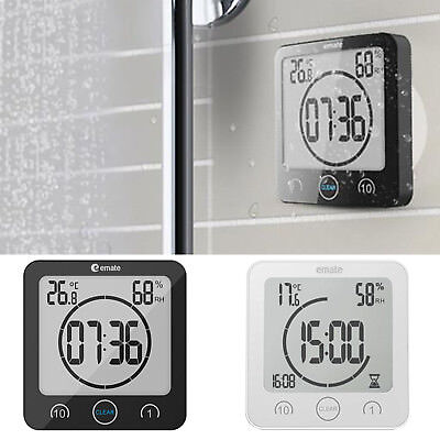 Digital Shower Alarm Clock Timer -12/24 Waterproof Temperature Humidity Meter