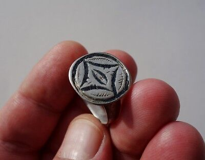 superb late Byzantine/Middle Ages silver ring, nicely decorated with blue enamel