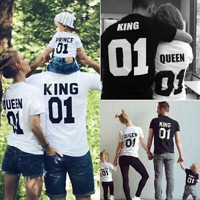 King and Queen Prince Princess 01 Matching Family Couple T Shirts Tee Blouse Top