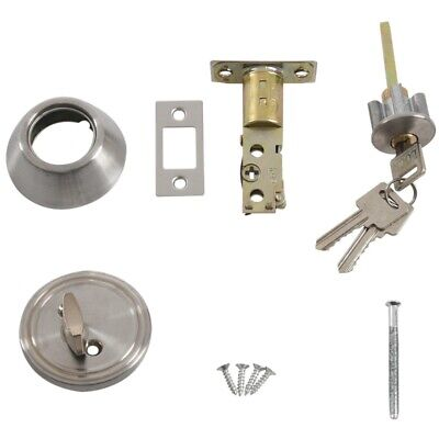 Home Door Locking Security Single Cylinder Deadbolt Lock Silver Tone P1J1