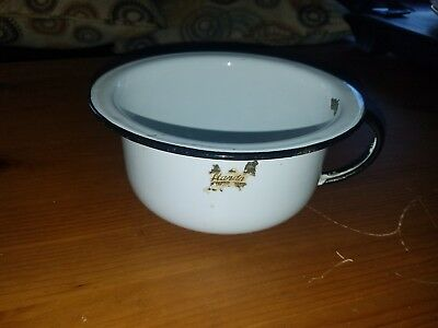 Metal Vintage Baby Infant Chamber Pot Potty White Black Trim