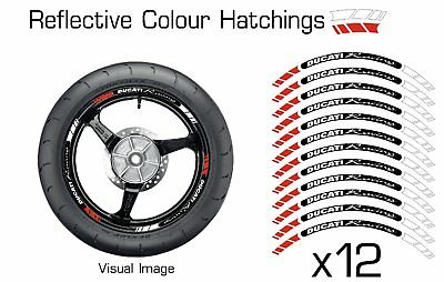 Ducati Red Reflective Motorcycle Wheel Tape Stickers Rim Decal Sticker Vinyl