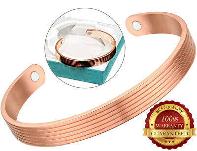 Magnetic Copper Bracelet 2 Magnet Healing Pain Arthritis Cuff Bangle Wristband