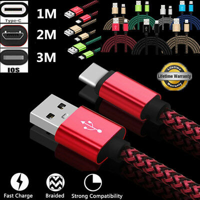 1/2/3M Fast Charging Nylon Braided Charger Data Cable For Samsung S9 S8 S7 IOS